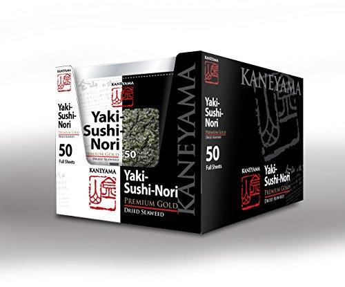 Kaneyama Yaki Sushi Nori / Dried Seaweed (Vacuum-packed/re-sealable), Premium Gold Grade (Full Size 50 Sheets 10 Packs) by Kaneyama (Image #5)