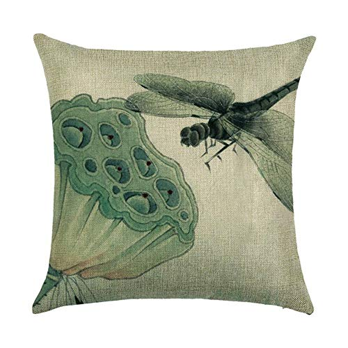 Nextchange Dragonfly Hindu Lotus Seedpod Printed Flax Creative Design and Beautiful Pillowcase (Two Sides) Pillow Cover Great Festival Gift
