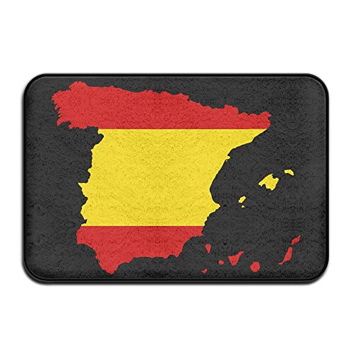 EWD8EQ Flag Of Spain MAP Non-slip Indoor/Outdoor Floor Mat For Health And Wellness Kitchen Hallway Bath Office Bathroom Doormat 23.6''x 15.7'' by EWD8EQ