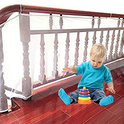 Child Safety Net Balcony Patios and Railing Stairs Netting Safe Rail for Kids/Pet/Toy Sturdy Mesh Fabric Material Outdoor & Stairway Deck Stair Pet Toy Protector