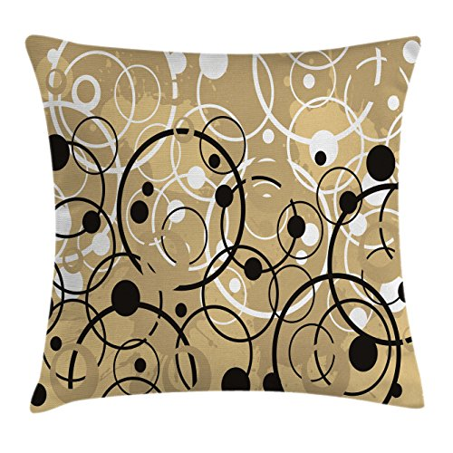 Ambesonne Tan Throw Pillow Cushion Cover, Funky Grungy Composition with Circles and Dots Retro Imaginative Print, Decorative Square Accent Pillow Case, 18