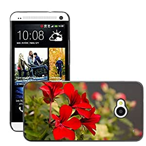 Hot Style Cell Phone PC Hard Case Cover // M00306919 Geranium Pelargonium Flower Red // HTC One M7