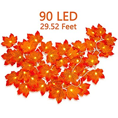 3 Pack Fall Maple Leaves Lighted Garland Decor- Thanksgiving String Lights Decorations Autumn Party Ornament ( Batteries Not Included)