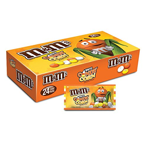 M&M'S White Chocolate Candy Corn Halloween Candy 1.5-Ounce Singles Pouches 24-Count Box (Pumpkin Hard Candy)