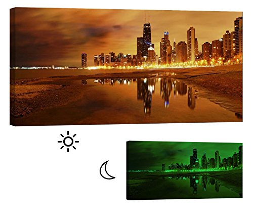 Glow in the Dark Framed Canvas Wall Art Print. No Energy Use - Chicago Skyline 46 x 24 (Glow Run Chicago)
