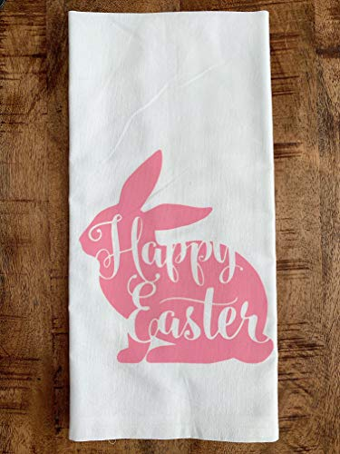 (Easter Kitchen Towel - Pink Bunny Flour Sack Dish Cloth)