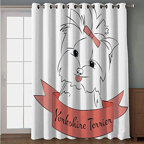 - iPrint Blackout Patio Door Curtain,Yorkie,Cute Puppy with Hair Buckle Yorkie Terrier Animal Ribbon Cartoon Character Print Decorative,Pink White,for Sliding & Patio Doors, 102