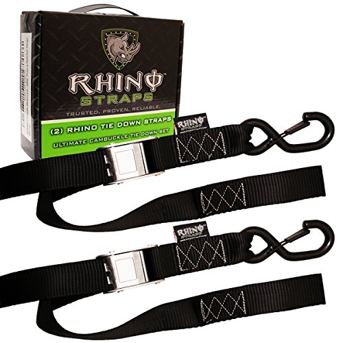 Rhino Usa Ultimate Motorcycle Tie Down Straps (2 Pack) Lab Tested 3,328lb Break Strength, Stainless