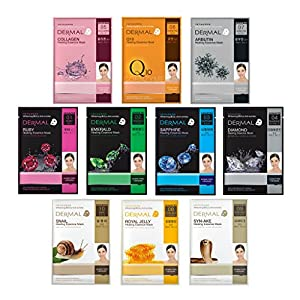 Dermal Korea Advanced Healing Essence Mask Full Face Facial Mask Sheet 28g, Pack of 10
