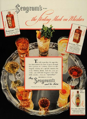 old Canadian Whiskey Dry Gin Blend - Original Print Ad (Seagram Vo Canadian Whiskey)