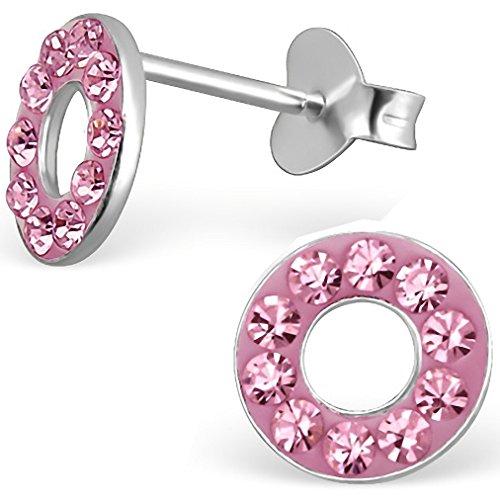 JAYARE® Boucles d'oreilles Enfants anneaux 7 x 7 mm Cristal argent sterling 925 rose avec étui de cadeau clou d'oreilles fille