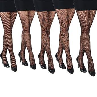 1de480e6b8b 5 Pairs Assorted Black Fishnet Patterned Fashion Tights  Amazon.co.uk   Clothing