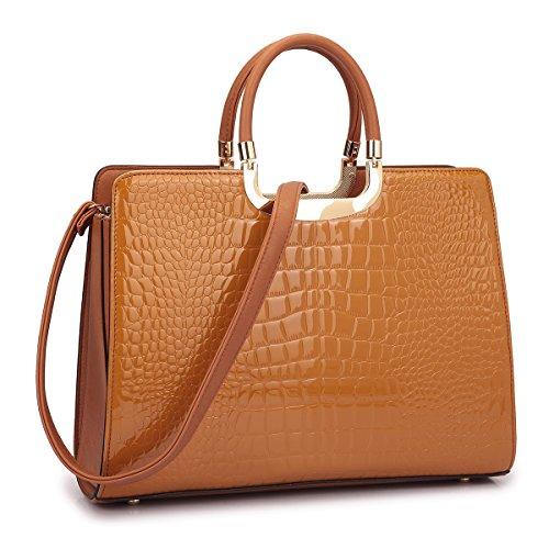 Patent Leather Satchel Handbag Designer Purse Wallet Set Striped Shoulder Bag Brown (Brown Patent Leather Bag)