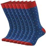 Crew Dress Socks, SUTTOS Mens Boys Adult Crazy Fashion Navy Blue Red Colorful Dashed Art Patterned Funky Cotton Flat Knit Casual Socks Comfort Socks Fun Wedding Groomsmen Socks School Uniforms Socks,7 Pairs