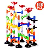 Marble Run Toy - Marble Game STEM Educational Learning Toy,DIY Marble Runs Coaster Railway Construction Building Blocks Toy for Boys Girls 4 5 6 + Years Old (78 Durable Pieces + 30 Glass Marbles)