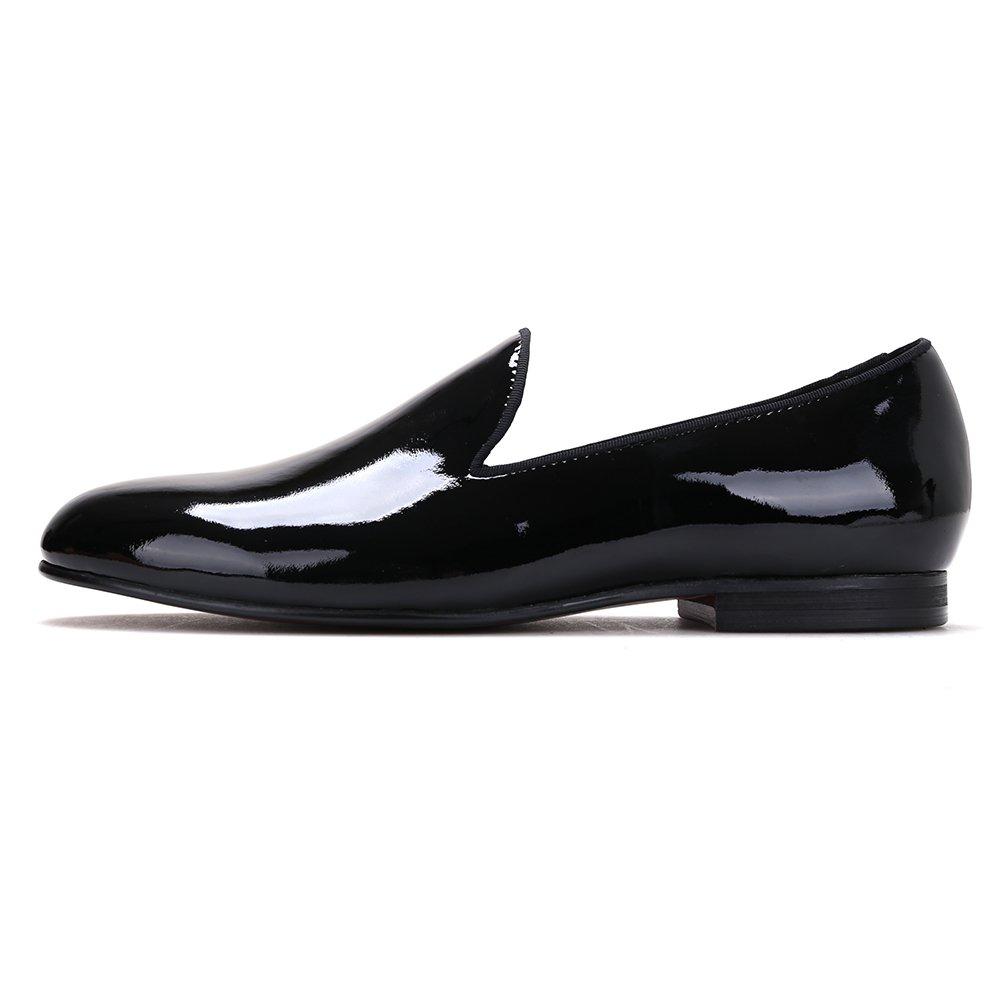 bb330270e9972 Amazon.com | Merlutti Plain Black Patent Leather Flat Men's Dress ...