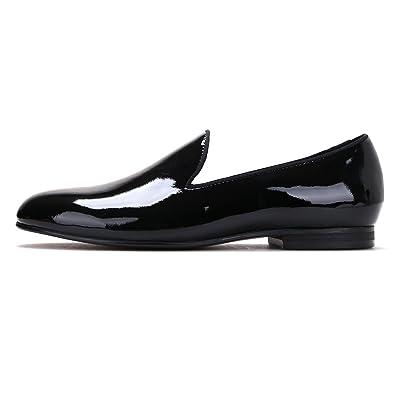 d528c11ac2e Merlutti Plain Black Patent Leather Flat Men s Dress Shoes Loafers and  Slip-ons (6