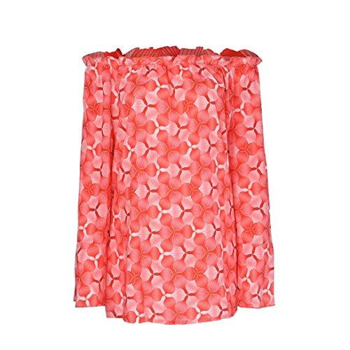 Grande Tops Dcontracte Longues paule Orange Off lache Femmes Taille Bell Manches YUYOUG Neck Chemises Slash Pull imprim Blouse WwqzfxxUP6