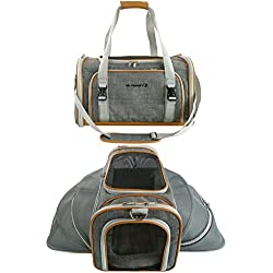 Mr. Peanut's Double Expandable Airline Approved Soft Sided Pet Carrier, Luxury Travel Tote with Premium Self Locking Zippers, Plush Faux Fleece Bedding with a Sturdy Plywood Base, 18LX10.4WX11 H
