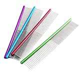 BECKY,1/2 pcs 7.4-inch Stainless Steel Dog Cat Pet Grooming Comb - Row Teeth Needle Hair Trimmer Grooming Comb - Medium 2 Spacing Teeth Colorful Grooming Comb Brush Stainless Steel