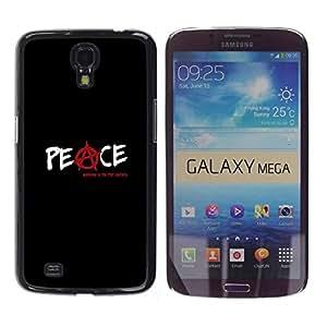 FECELL CITY // Duro Aluminio Pegatina PC Caso decorativo Funda Carcasa de Protección para Samsung Galaxy Mega 6.3 I9200 SGH-i527 // Anarchy Rebel Black Text