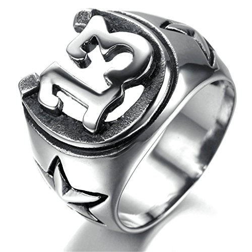 [Bishilin Men's Stainless Steel Five-pointed Star Numbers Lucky 13 Biker Ring Size 11] (Red Skull Costume Uk)