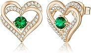 CDE Forever Love Heart Women Earrings 925 Sterling Silver Rose Gold Plated January Birthstone Stud Earrings fo