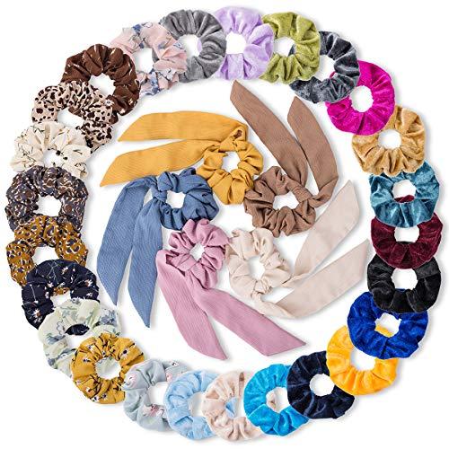 30 Pcs Hair Scrunchies, 15 Pcs Velvet Elastics Bobbles Hair Bands, 10 Pcs Chiffon Flowers Elastic Hair Bands, 5 Pcs Ribbon Scrunchy Hair Ties Hair Accessories for Girl Women(30 Pcs/30 Colors)