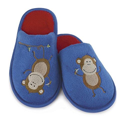 Fleece amp; Hausschuhe Wildleder Jungen Bestickt Blau Poly Mule Monkey Rot pFwFvXq