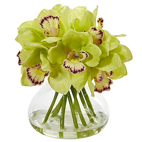 Nearly Natural 1912-GR Cymbidium Orchid Artificial Glass Vase Silk Arrangements, Green (Cymbidium Orchids Silk Green)