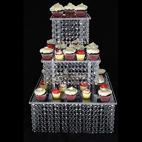 Butterflyevent 3 Tier Square Acrylic Crystal Beaded Chandelier Cake Stand For Birthday Wedding Party Cascade Cupcake Tower Wedding Centerpiece