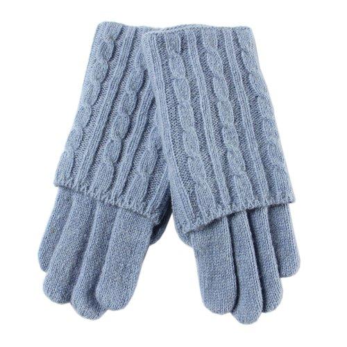 妥協引退した終わった【WARMEN】(9色あり)レディース ウールニット手袋 グローブ 手ぶくろ ショート リブ編み  定番ニット編み プレゼントに最適!Z005D (ワンサイズ, ライトブルー)