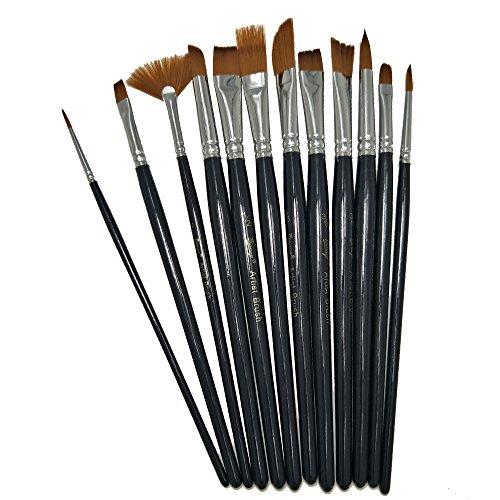 Bianyo 12 pcs Short Rod Brass Nylon Hair Powder Acrylic Brush Set,Watercolor Set ... ()