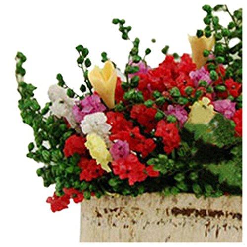 TOOGOO Color: Multicolor 1//12 Dollhouse Miniature Multicolor Flower Bush With Wood Pot R