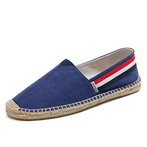 Men's Classic Canvas Slip-On Original Loafer Flat Shoes Casual Sneaker Espadrille Blue3 11US by huashida
