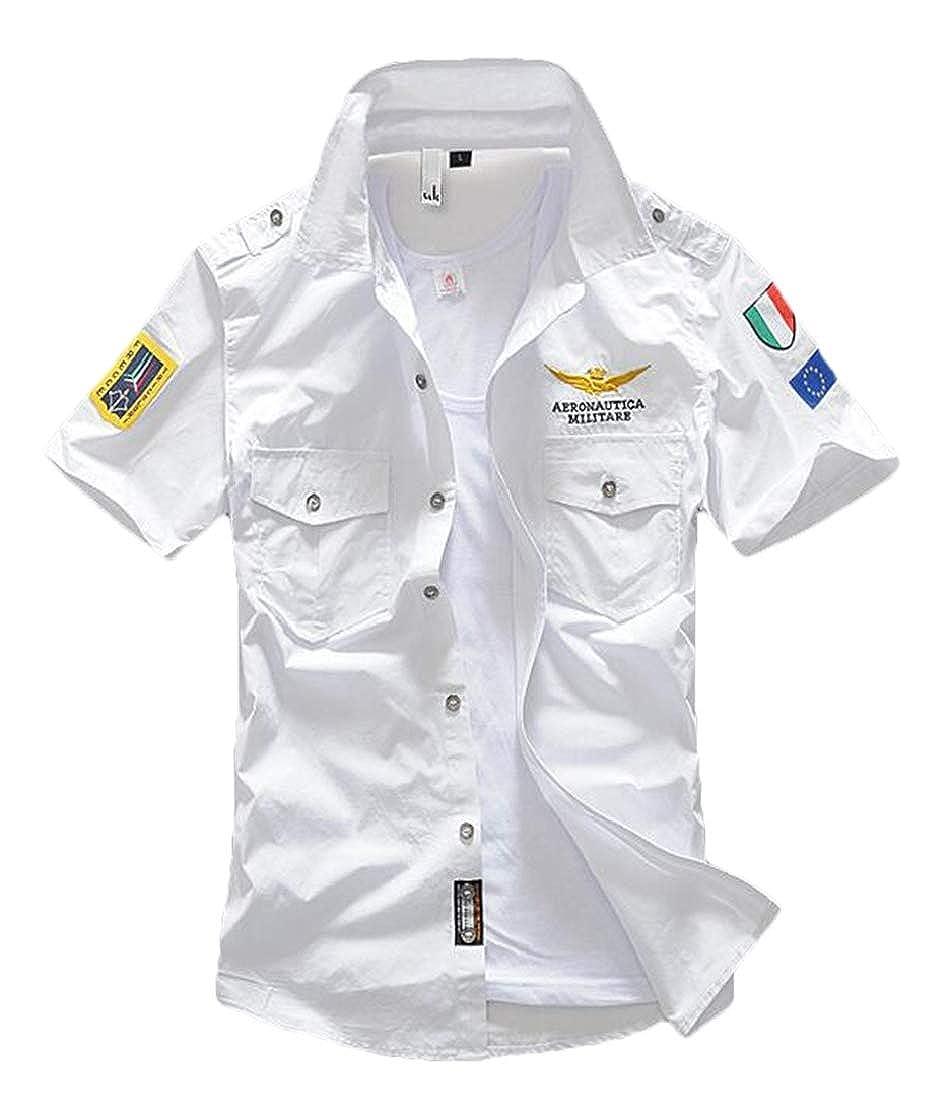 BU2H Men Summer Button Down Short Sleeve Embroideried Shirt Blouse Top