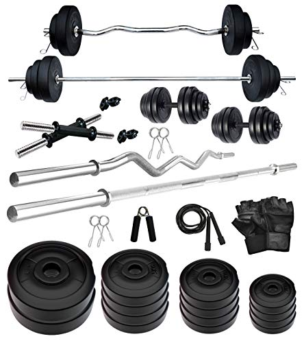 Kore PVC 60 Kg COMBO2-WB with One 5 ft Plain + One 3 ft Curl Rod and One Pair Dumbbell Rods with Gym Accessories Home Gym Set (Multicolor)