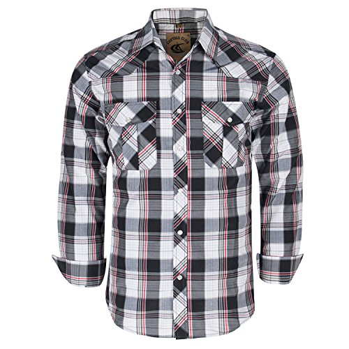 Coevals Club Men's Snap Button Down Plaid Long Sleeve Work Casual Shirt (Black & Red #18, M)