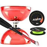 Juggle Dream Red Cyclone Quartz 2 Diabolo w/ Carbon Fibre Diablo Sticks & Accelerate Diabolo String Set