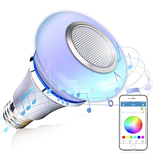 Bluetooth Light Bulb Speaker with App Control - Color Changing Bulb Syncs with Music, Wireless Audio Speaker Light Clear and Loud
