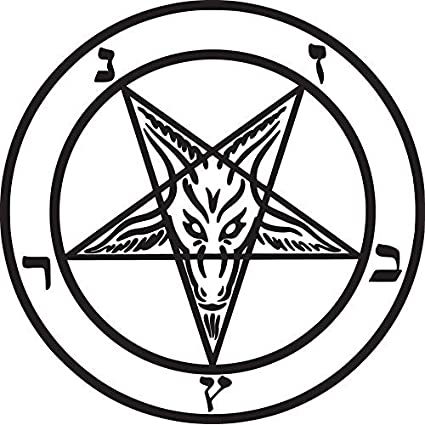RED COLOR BAPHOMET GOAT HEAD WICCAN PENTAGRAM STICKER DECAL CAR WALL ...