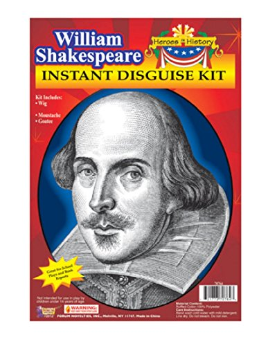 Forum Novelties Men's Heroes In History Instant Disguise Kit William Shakespeare, Multi, One Size