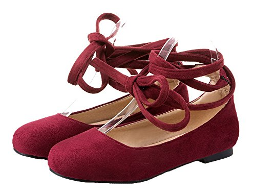 VogueZone009 Women's Solid Frosted No-Heel Round Closed Toe Pull-On Pumps-Shoes Claret 3O6WXF