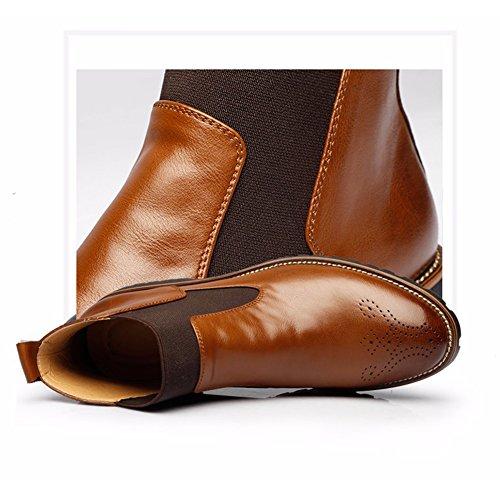 Brogues Britannico Stivaletti Morbida Nero Pelle In Chelsea Stile Casual Scarpe Inverno Moda degli Marrone Pelliccia Marrone uomini Boots rosso di fqfOYzw