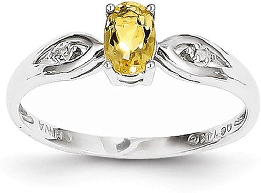 Jewelry Adviser Rings 14k White Gold Citrine Diamond Ring