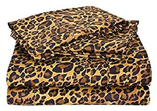 5-Piece Zipper Closure Duvet Cover Set (1 Duvet Cover & 4 Pillowcase) 400 Thread Count 100% Cotton Duvet Cover ,Ultra Soft and Easy Care,Simple Style Bedding Set (Queen Size, Leopard Print)