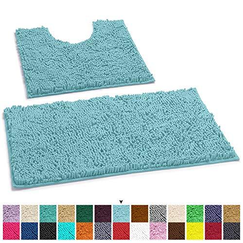 LuxUrux Bathroom Rugs Luxury Chenille 2-Piece Bath Mat Set, Soft Plush Anti-Slip Shower Rug +Toilet Mat.1