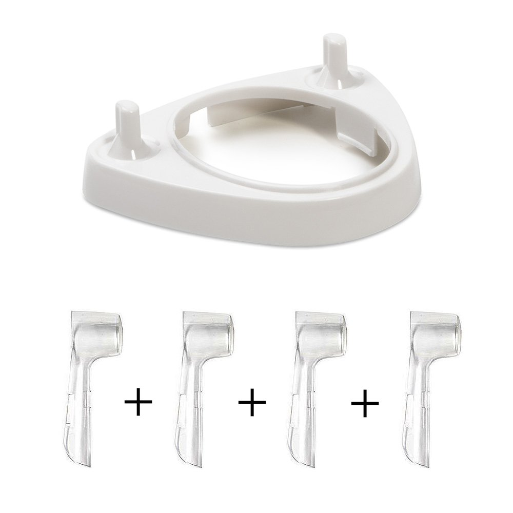 Electric Toothbrush Holder with 4 Brush Heads Dust-Proof Covers for Oral-B Series Medlife