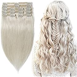 """Double Weft 100% Remy Human Hair Clip in Extensions #70 Bleach White 10''-22'' Grade 7A Quality Full Head Thick Long Soft Silky Straight 8pcs 18clips for Women Beauty 14""""/14 inch 120g"""