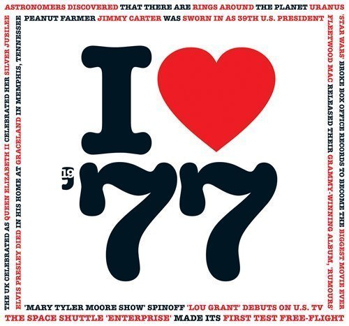 1977 Birthday Gift - I Love 1977 Compilation Music Hits CD - 20 Original Songs - 1977 Year Greeting Card (Gifts For 40th Anniversary)